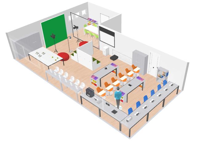 Diseño en 3D del Aula del Futuro de Zafra.