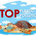 Poster design with sea turtle and plastic bags on beach illustration
