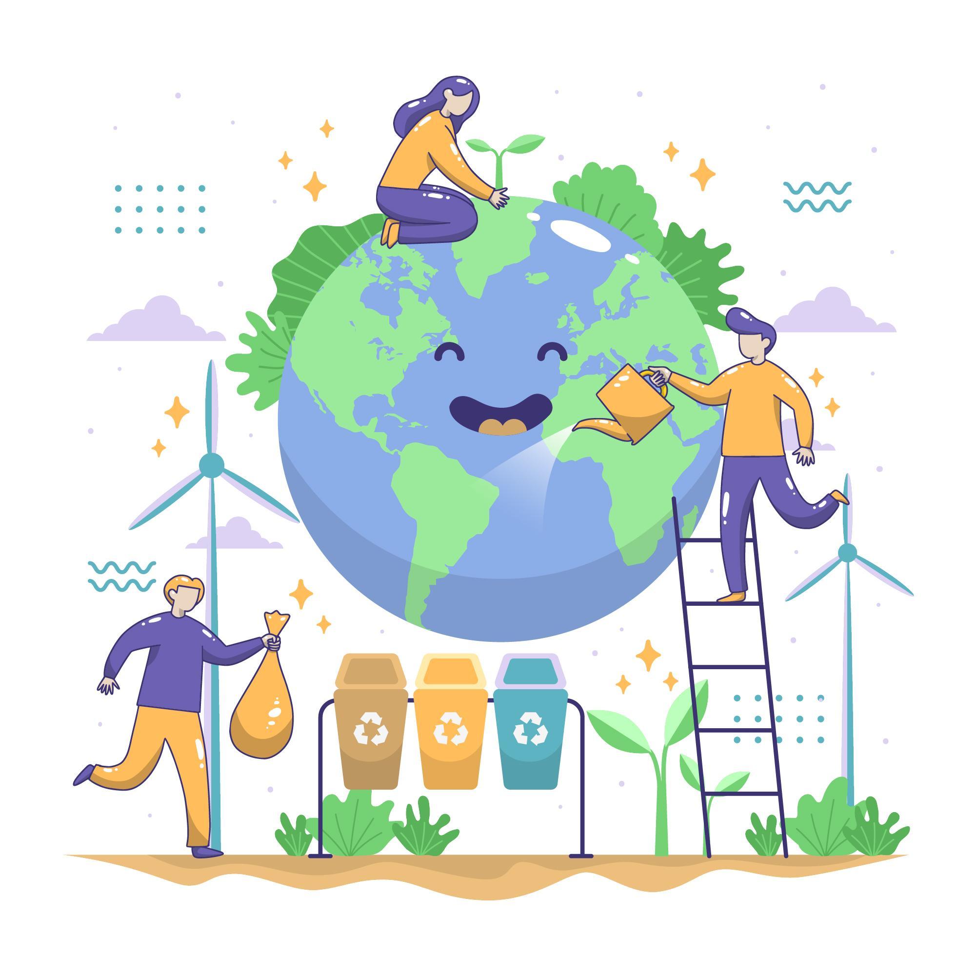 Imagen de personas regando y reciclando en el mundo