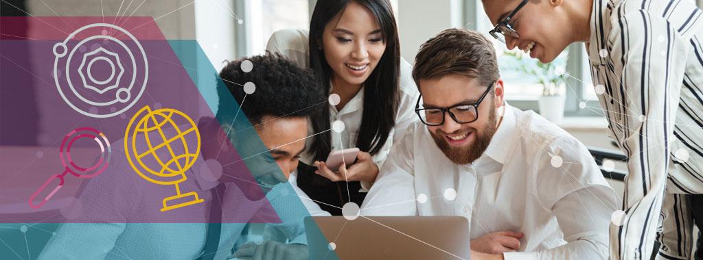 Imagen de portada que muestra un grupo de personas trabajando con tecnología